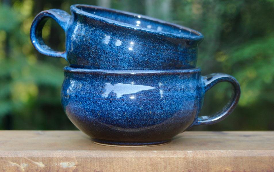 Karen Cocks - Blue Handled Soup Bowls
